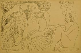 Pablo Picasso: Female Nude and Two Men, 1970 Pencil