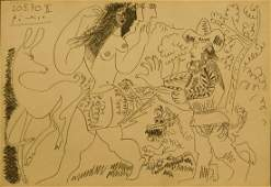 Pablo Picasso: Woman Chased by Man and Dog, 1970 Pencil