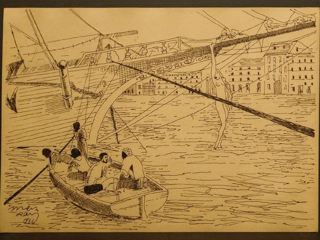 Man Ray: Ship, Sailors and a Woman, 1936 drawing