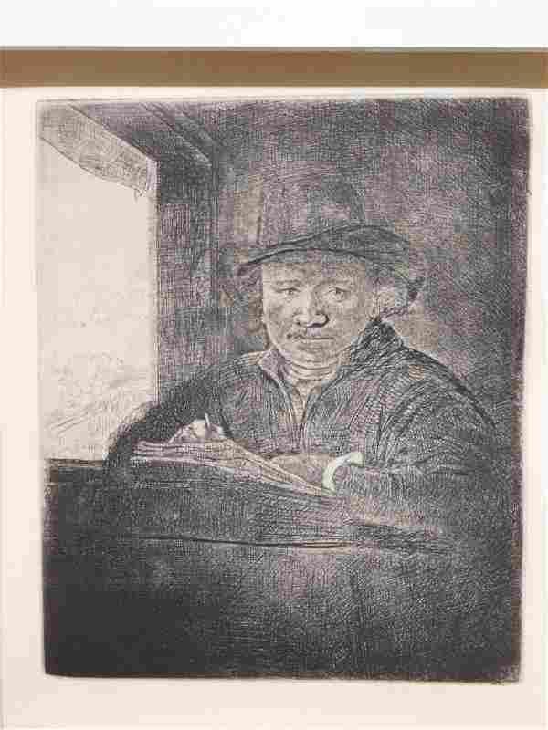 Rembrandt Van Rijn: Self Portrait Drawing at a Window