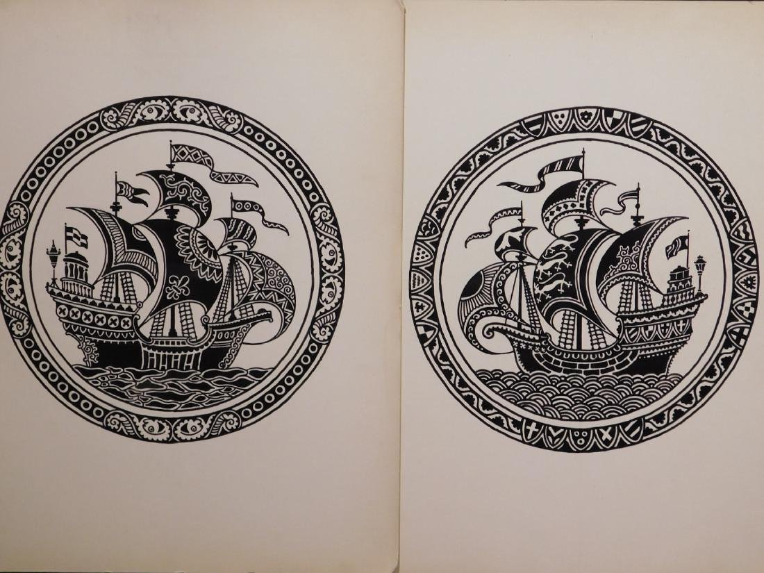A. Lindey: Pair of Galleon Ship Drawings