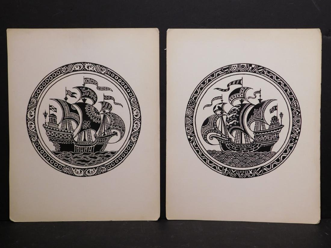A. Lindey: Pair of Galleon Ship Drawings - 4