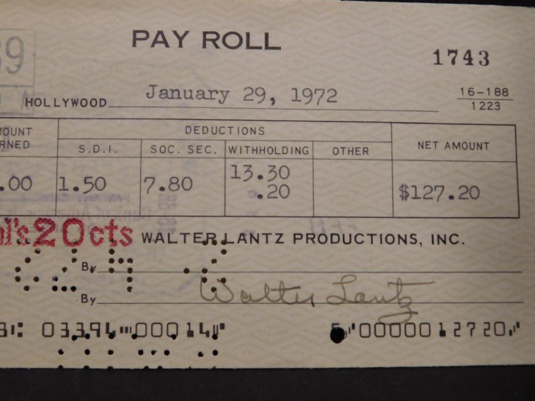 Walter Lantz: Woody Woodpecker & Signed Check - 2