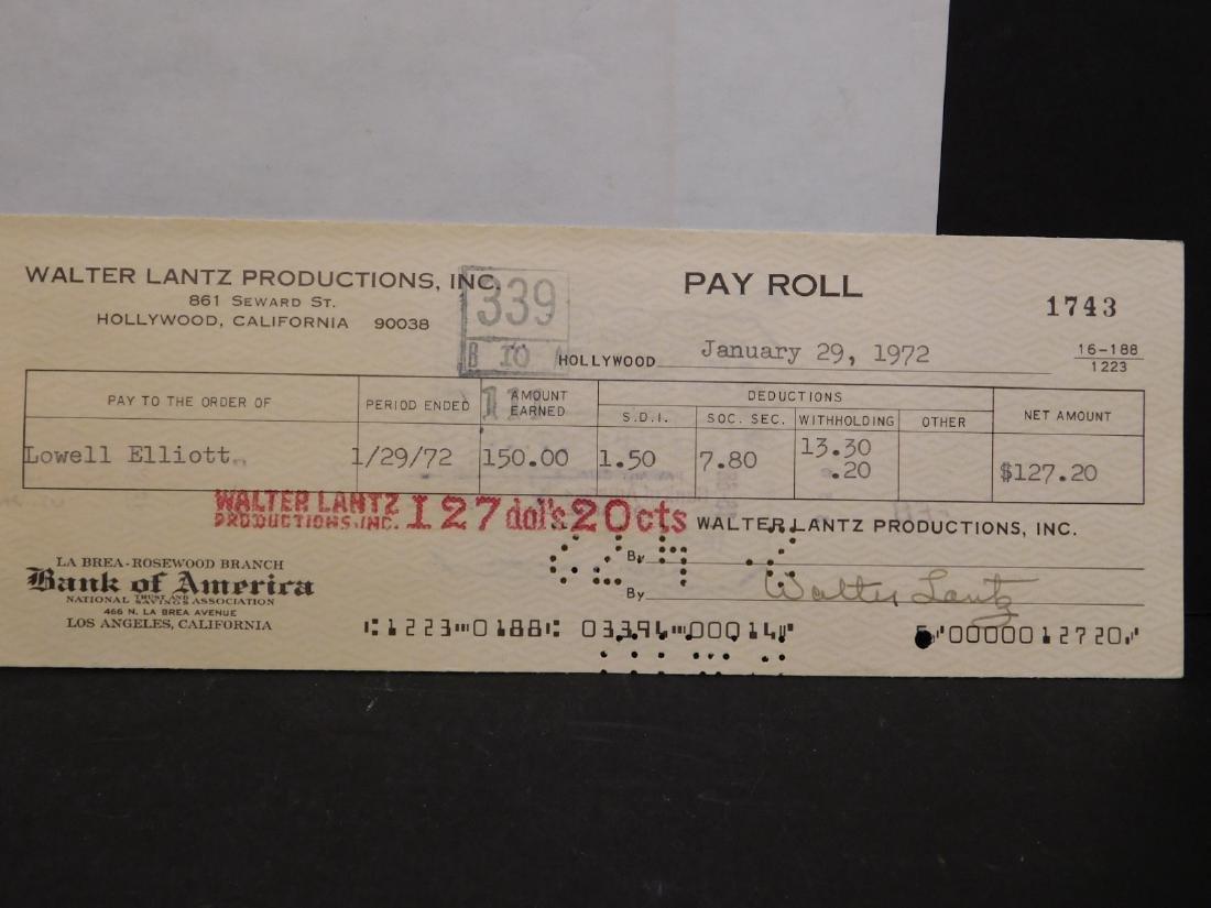 Walter Lantz: Woody Woodpecker & Signed Check - 3