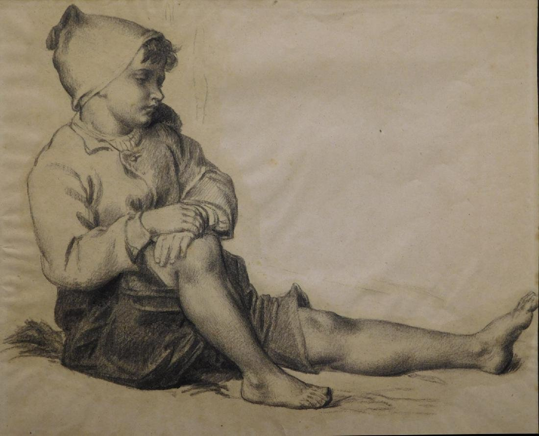 School of Millet: Charcoal drawing on paper