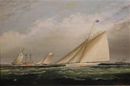James Buttersworth: Sailboats at Sandy Hook Lightship