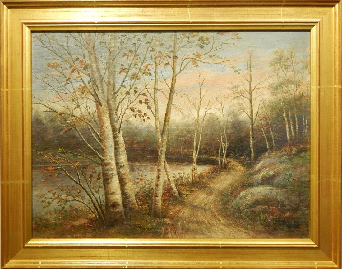 White Mountain School: Landscape With Road and Birch