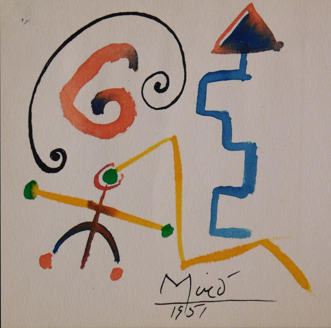Joan Miro: Abstract watercolor on paper