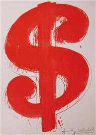 Manner of Andy Warhol:  Red Dollar Sign