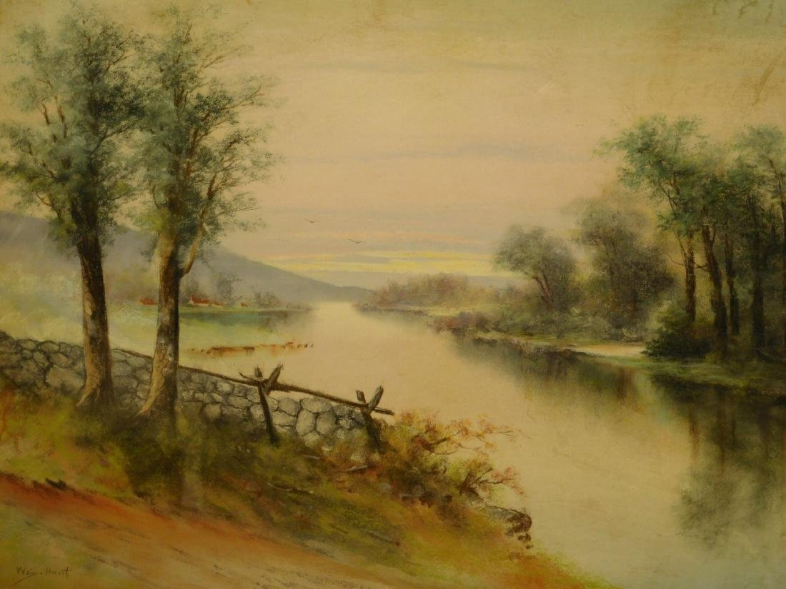 Walter Simmons Hunt: Landscape with River, pastel