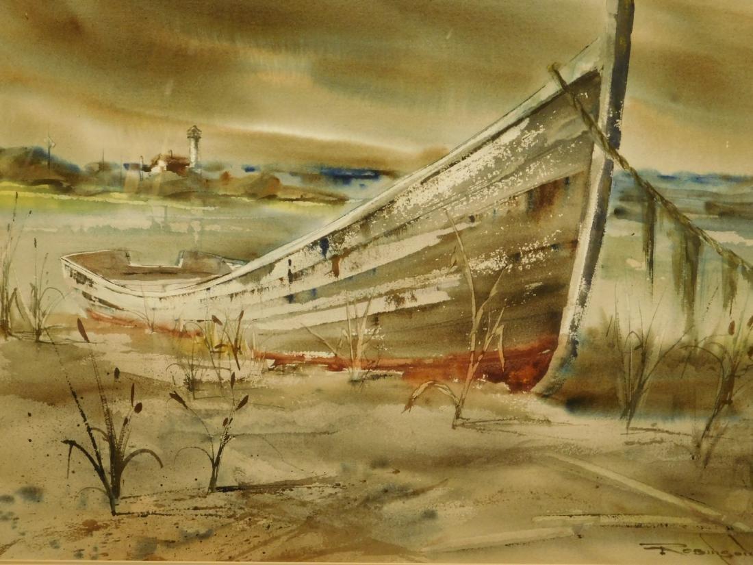 Robinson: Skiff on a Sandy Shore, watercolor
