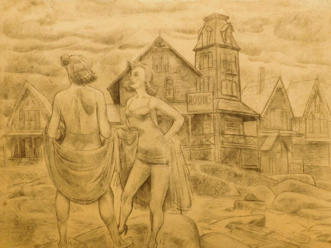 Warren Spalding: Women at the Beach, 1948 drawing