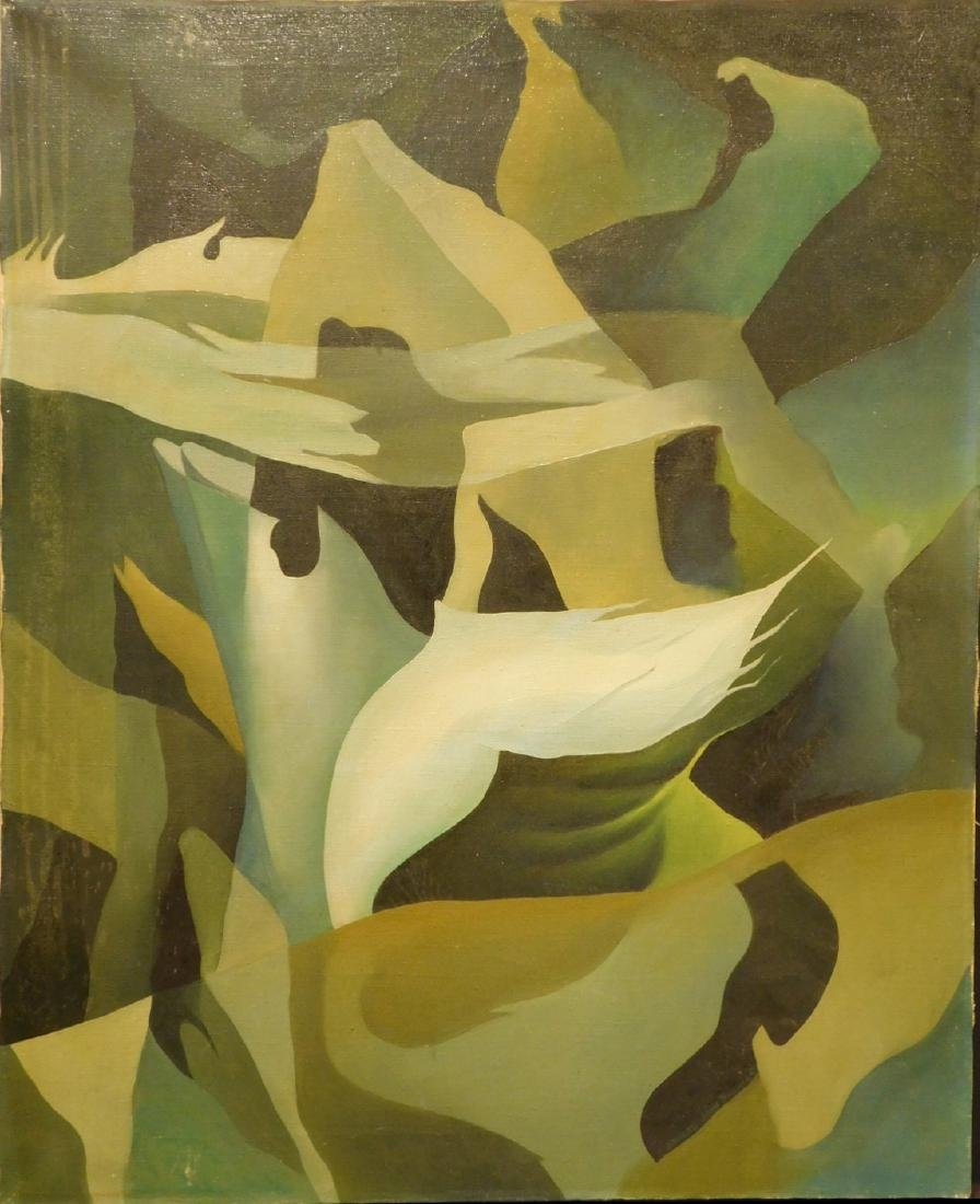 Howard John Besnia: Abstract Oil Painting c. 1950