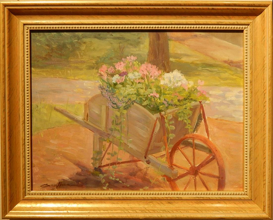 Glen Graffan: Garden in a Wheelbarrow, oil painting