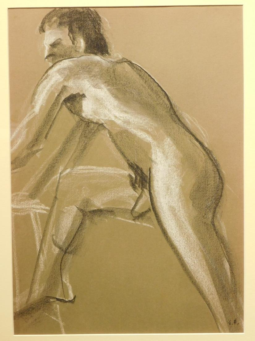 E.H.: Figure study of Nude Man in Motion