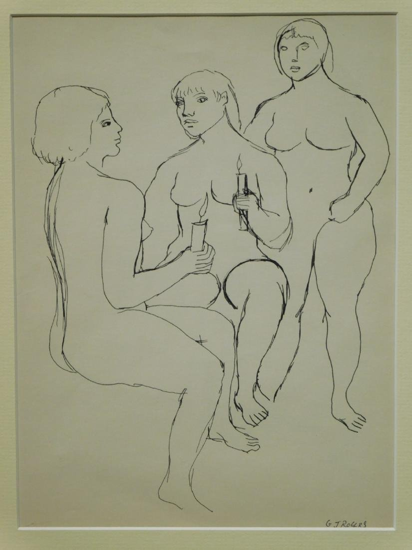 G.J. Rogers: Figure Study Of Three Female Nudes Holding