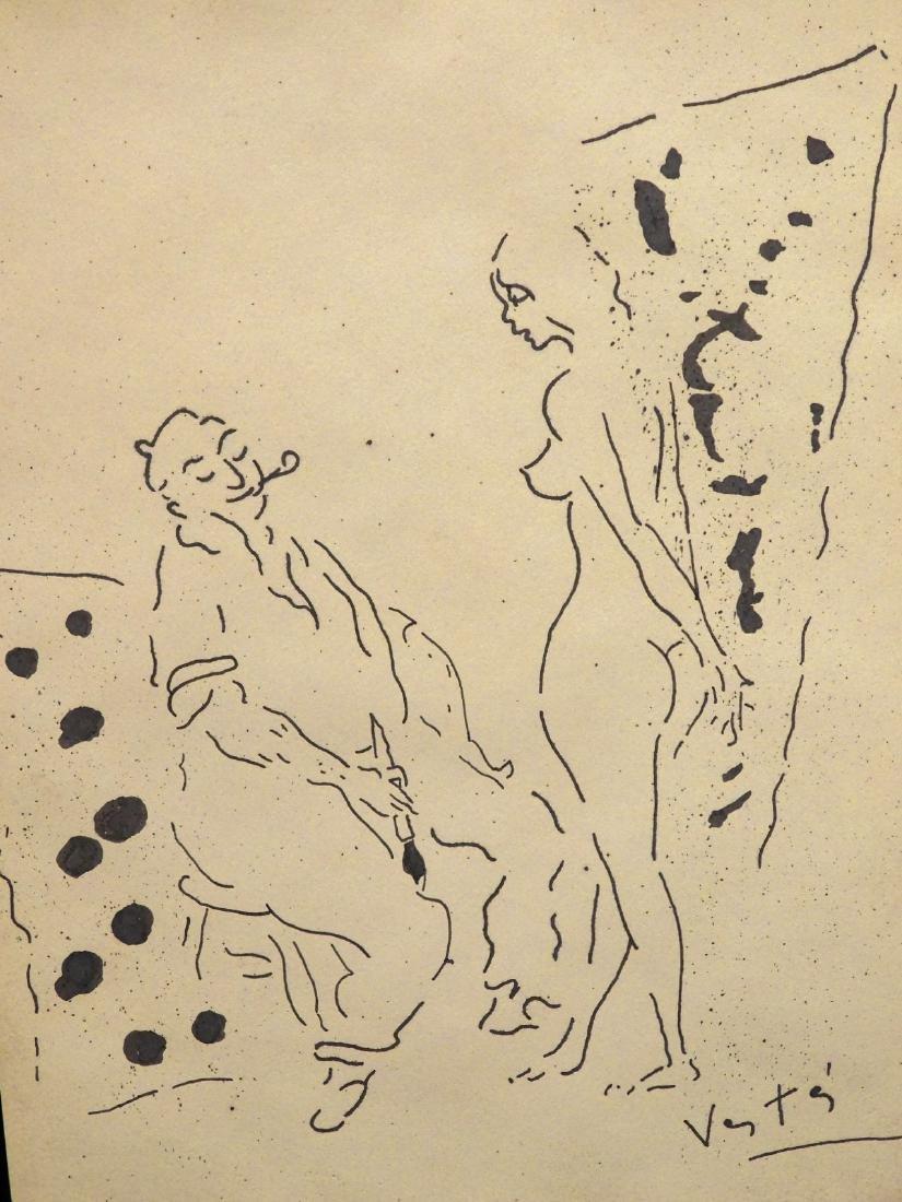 Marcel Vertes: Artist and Model, Ink Drawing