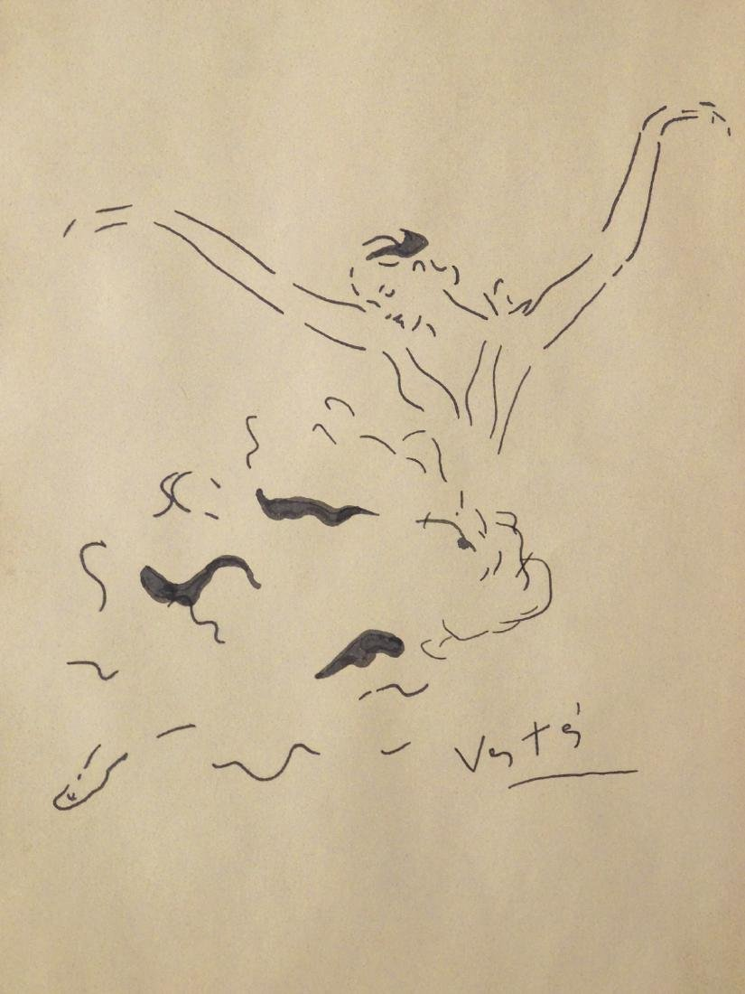 Marcel Vertes: Ballet Dancer, Ink Drawing