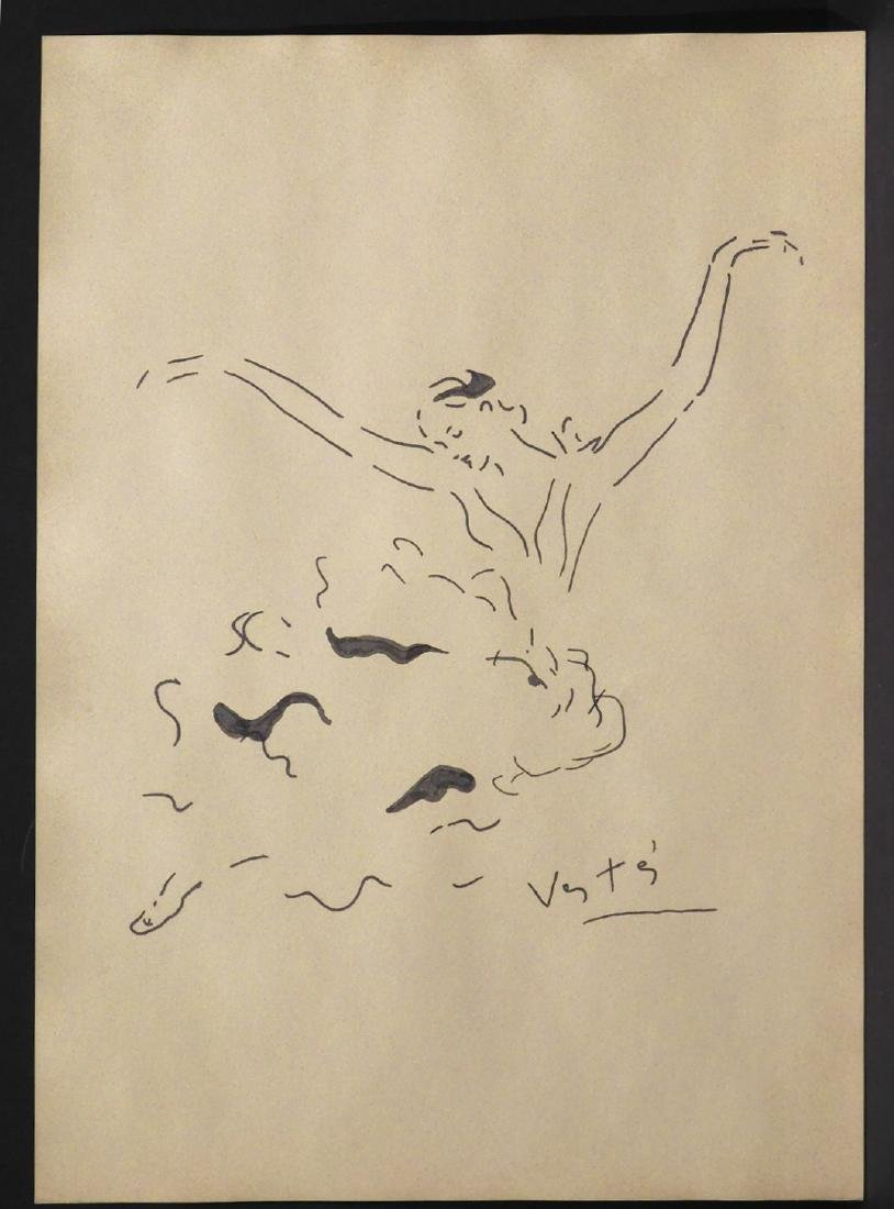 Marcel Vertes: Ballet Dancer, Ink Drawing - 7