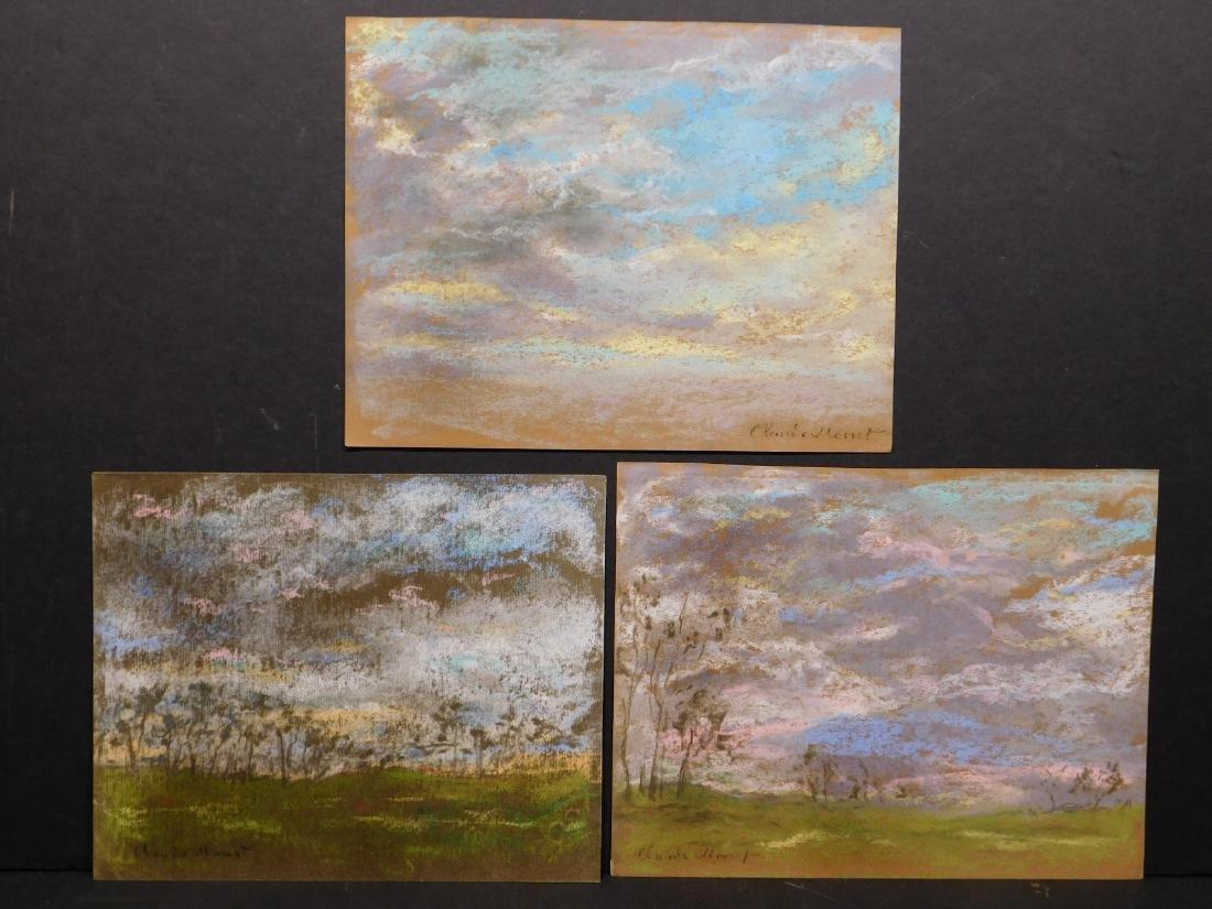 Claude Monet: Set of Three Pastel Landscape Studies