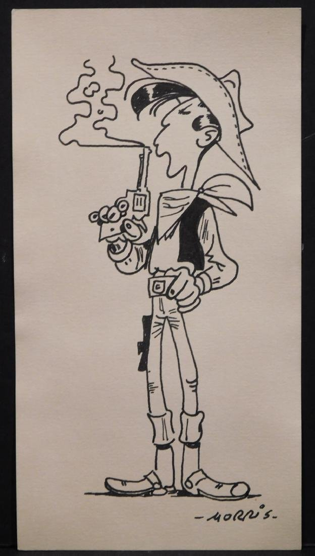 Morris: Lucky Luke blowing at his revolver