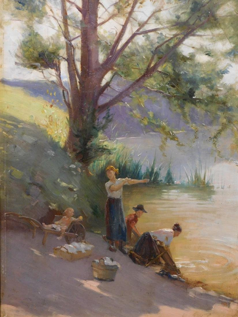 Edouard Jerome Paupion: Lavandieres By the River