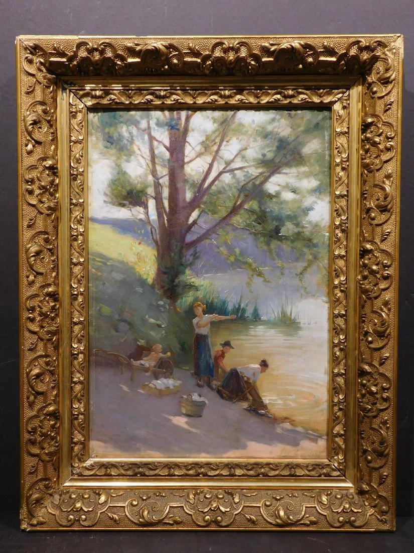 Edouard Jerome Paupion: Lavandieres By the River - 2
