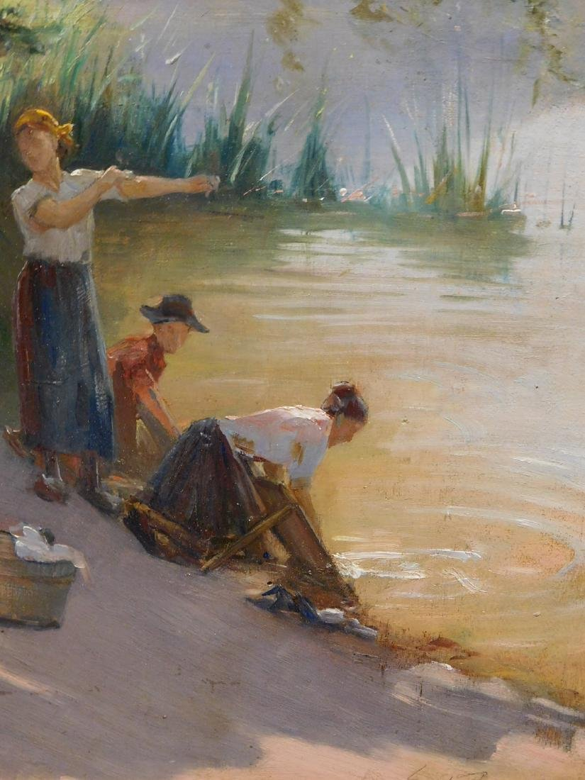 Edouard Jerome Paupion: Lavandieres By the River - 5