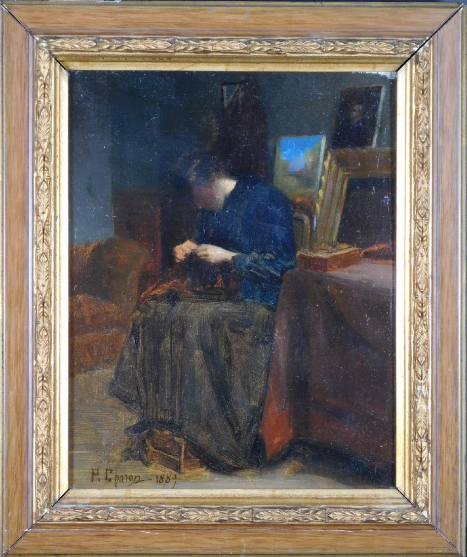 Pierre Charon: A Woman Sewing in Artist Studio
