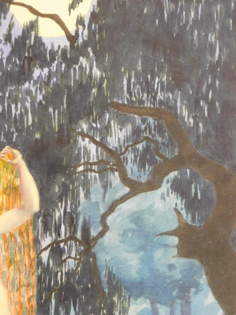 Louis Icart: Female Nude by the Lily Pond - 4