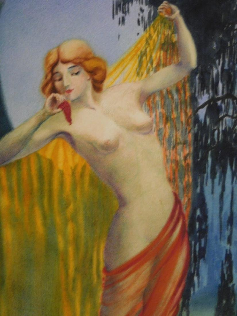 Louis Icart: Female Nude by the Lily Pond - 7