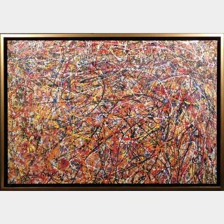 Jackson Pollock: Red, Orange, Yellow, and Black Drip