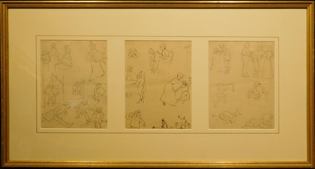 Elmer Boyd Smith: Three Pages of Caricatures of