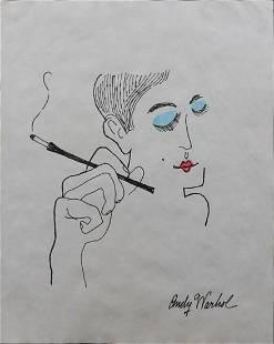 Andy Warhol Smoker with Blue Eyeshadow