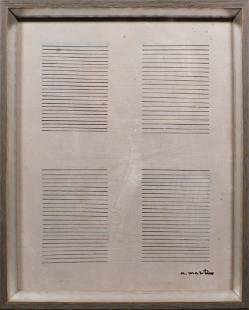 Manner of Agnes Martin Drawing on Canvas