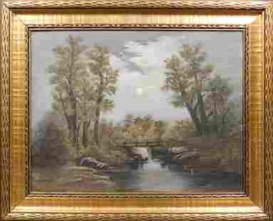 American School Moonlit Bridge Over a Creek