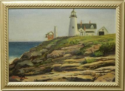 B Howland Light House Oil Painting c1930