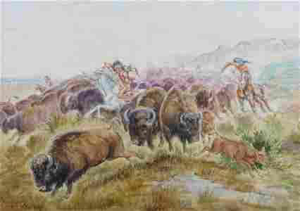 C.M. Russell: Buffalo Hunt