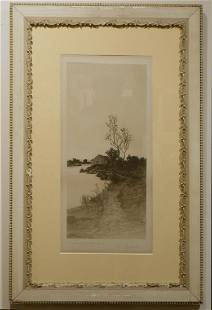 Ernest CRost Antique Etching of a Mill