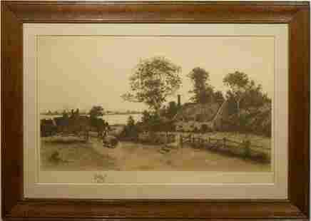 H Anderson Landscape Etching in Oak Frame