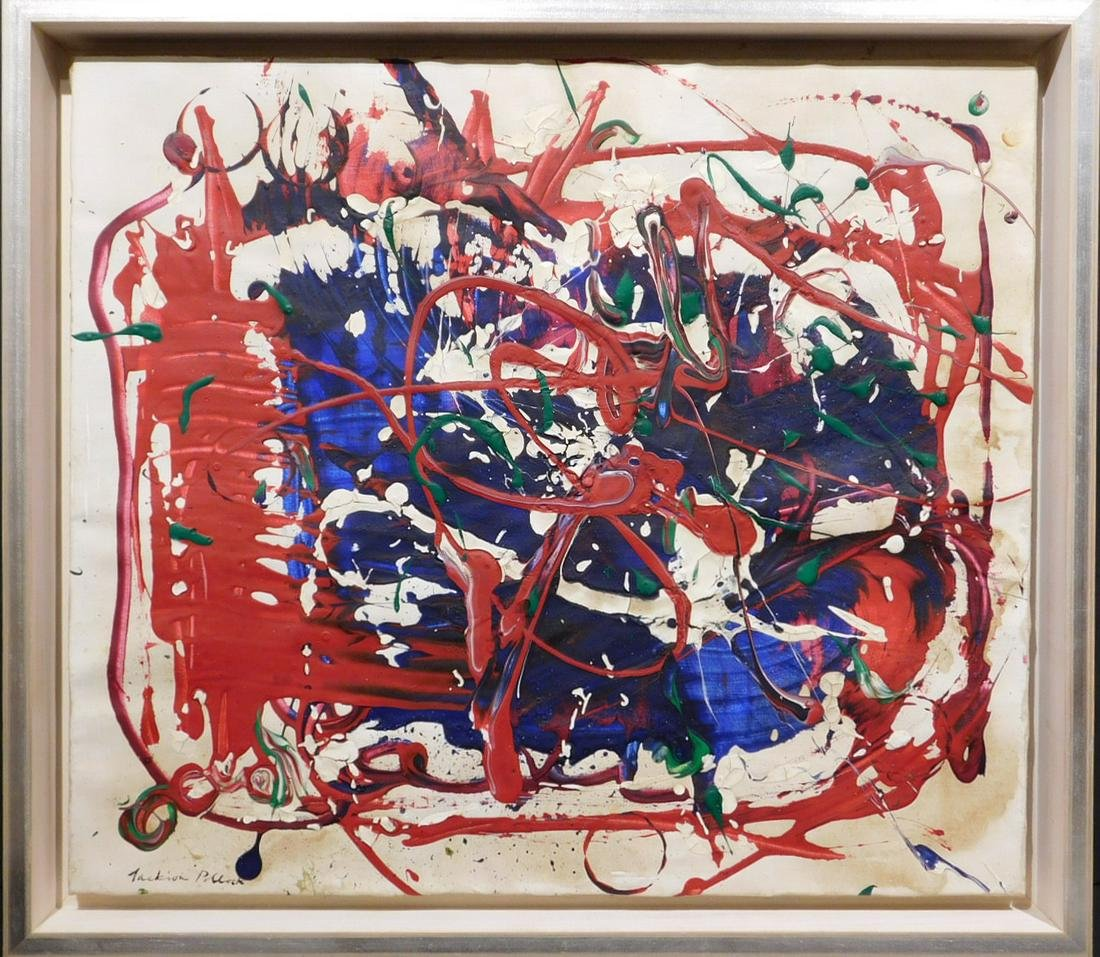 Jackson Pollock: Untitled Drip Painting (Red, Blue,