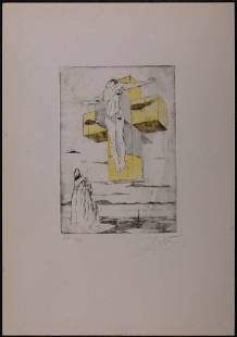 After SalvadorDali Hand Colored Etching of Corpus