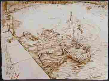 Vincent van Gogh: Sand Barges on the Siene