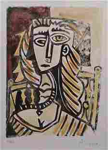 After Pablo Picasso Woman in a Chair Linocut