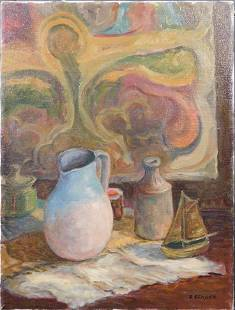 Ronald Seager Still Life with Jugs and a Ship