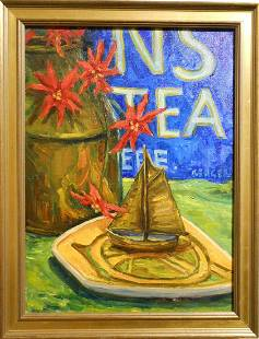 Ronald Seager Oil Still Life With Tea Sign