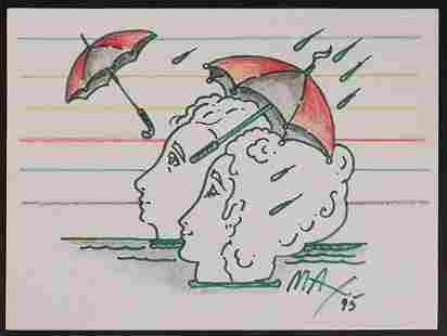 Peter Max Psychedelic Couple with Umbrellas