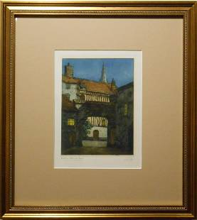 Antique Chine Colle Etching Of Abbeville France