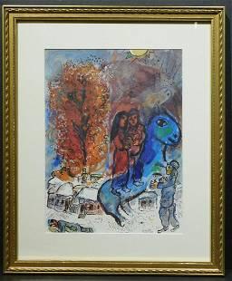 Marc Chagall Au Village Lithograph Reproduction