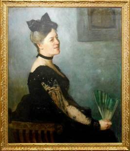 Francis Brooks Chadwick Portrait of a Woman with Fan